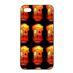 Paper Lanterns Pattern Background In Fiery Orange With A Black Background Apple Iphone 4/4s Seamless Case (black) by Simbadda