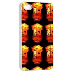 Paper Lanterns Pattern Background In Fiery Orange With A Black Background Apple Iphone 4/4s Seamless Case (white) by Simbadda