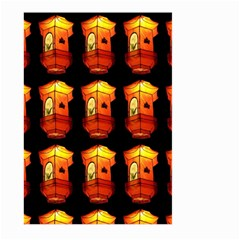 Paper Lanterns Pattern Background In Fiery Orange With A Black Background Large Garden Flag (two Sides) by Simbadda