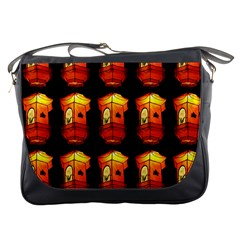 Paper Lanterns Pattern Background In Fiery Orange With A Black Background Messenger Bags by Simbadda