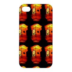 Paper Lanterns Pattern Background In Fiery Orange With A Black Background Apple Iphone 4/4s Premium Hardshell Case by Simbadda