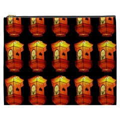 Paper Lanterns Pattern Background In Fiery Orange With A Black Background Cosmetic Bag (xxxl)  by Simbadda