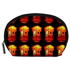Paper Lanterns Pattern Background In Fiery Orange With A Black Background Accessory Pouches (large)  by Simbadda