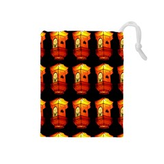 Paper Lanterns Pattern Background In Fiery Orange With A Black Background Drawstring Pouches (medium)