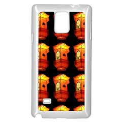 Paper Lanterns Pattern Background In Fiery Orange With A Black Background Samsung Galaxy Note 4 Case (white) by Simbadda
