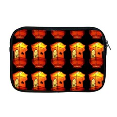 Paper Lanterns Pattern Background In Fiery Orange With A Black Background Apple Macbook Pro 17  Zipper Case