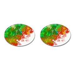 Digitally Painted Messy Paint Background Texture Cufflinks (oval) by Simbadda