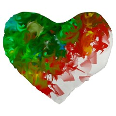 Digitally Painted Messy Paint Background Texture Large 19  Premium Heart Shape Cushions by Simbadda
