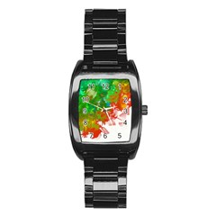 Digitally Painted Messy Paint Background Texture Stainless Steel Barrel Watch by Simbadda