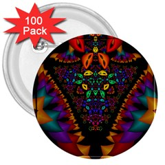 Symmetric Fractal Image In 3d Glass Frame 3  Buttons (100 Pack)  by Simbadda
