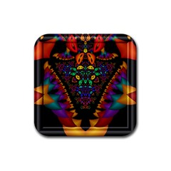 Symmetric Fractal Image In 3d Glass Frame Rubber Coaster (square)