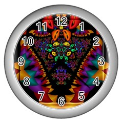 Symmetric Fractal Image In 3d Glass Frame Wall Clocks (silver)  by Simbadda