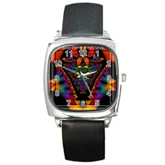Symmetric Fractal Image In 3d Glass Frame Square Metal Watch by Simbadda