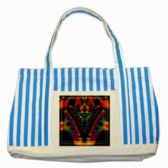 Symmetric Fractal Image In 3d Glass Frame Striped Blue Tote Bag by Simbadda