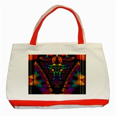 Symmetric Fractal Image In 3d Glass Frame Classic Tote Bag (red) by Simbadda