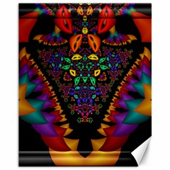 Symmetric Fractal Image In 3d Glass Frame Canvas 11  X 14   by Simbadda