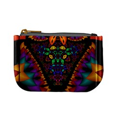 Symmetric Fractal Image In 3d Glass Frame Mini Coin Purses by Simbadda