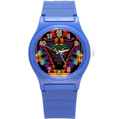 Symmetric Fractal Image In 3d Glass Frame Round Plastic Sport Watch (s) by Simbadda