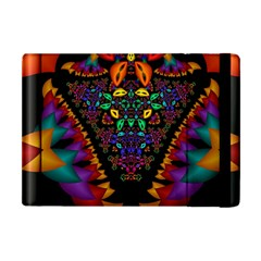 Symmetric Fractal Image In 3d Glass Frame Apple Ipad Mini Flip Case by Simbadda