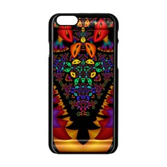 Symmetric Fractal Image In 3d Glass Frame Apple Iphone 6/6s Black Enamel Case