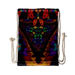 Symmetric Fractal Image In 3d Glass Frame Drawstring Bag (small) by Simbadda