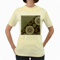 Abstract Mandala Background Pattern Women s Yellow T Shirt