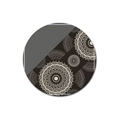 Abstract Mandala Background Pattern Rubber Round Coaster (4 Pack)