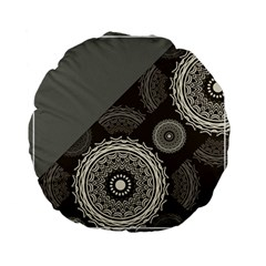 Abstract Mandala Background Pattern Standard 15  Premium Flano Round Cushions by Simbadda