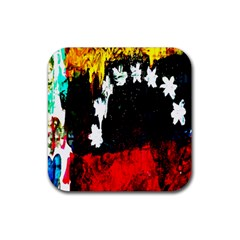 Grunge Abstract In Dark Rubber Coaster (square)  by Simbadda