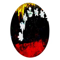Grunge Abstract In Dark Oval Ornament (two Sides)