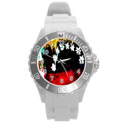 Grunge Abstract In Dark Round Plastic Sport Watch (l) by Simbadda
