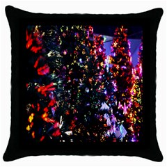 Lit Christmas Trees Prelit Creating A Colorful Pattern Throw Pillow Case (black) by Simbadda