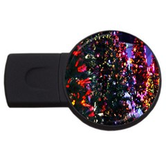 Lit Christmas Trees Prelit Creating A Colorful Pattern Usb Flash Drive Round (2 Gb) by Simbadda