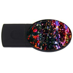 Lit Christmas Trees Prelit Creating A Colorful Pattern Usb Flash Drive Oval (4 Gb) by Simbadda