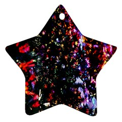 Lit Christmas Trees Prelit Creating A Colorful Pattern Star Ornament (two Sides) by Simbadda
