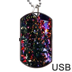 Lit Christmas Trees Prelit Creating A Colorful Pattern Dog Tag Usb Flash (one Side) by Simbadda
