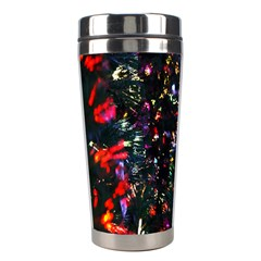 Lit Christmas Trees Prelit Creating A Colorful Pattern Stainless Steel Travel Tumblers by Simbadda