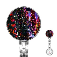 Lit Christmas Trees Prelit Creating A Colorful Pattern Stainless Steel Nurses Watch