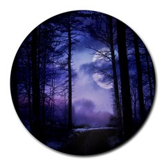Moonlit A Forest At Night With A Full Moon Round Mousepads by Simbadda
