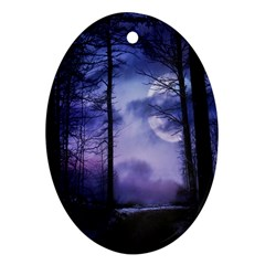 Moonlit A Forest At Night With A Full Moon Ornament (oval) by Simbadda