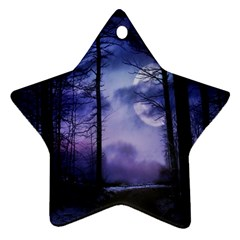 Moonlit A Forest At Night With A Full Moon Ornament (star) by Simbadda