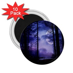 Moonlit A Forest At Night With A Full Moon 2 25  Magnets (10 Pack)  by Simbadda