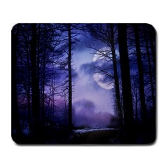 Moonlit A Forest At Night With A Full Moon Large Mousepads by Simbadda