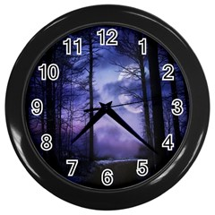 Moonlit A Forest At Night With A Full Moon Wall Clocks (black)