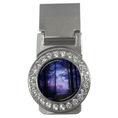Moonlit A Forest At Night With A Full Moon Money Clips (cz)  by Simbadda