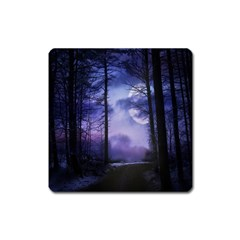 Moonlit A Forest At Night With A Full Moon Square Magnet by Simbadda