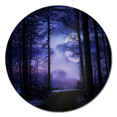 Moonlit A Forest At Night With A Full Moon Magnet 5  (round) by Simbadda