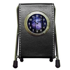Moonlit A Forest At Night With A Full Moon Pen Holder Desk Clocks by Simbadda