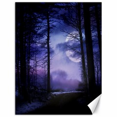 Moonlit A Forest At Night With A Full Moon Canvas 18  X 24   by Simbadda