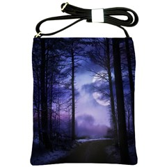 Moonlit A Forest At Night With A Full Moon Shoulder Sling Bags